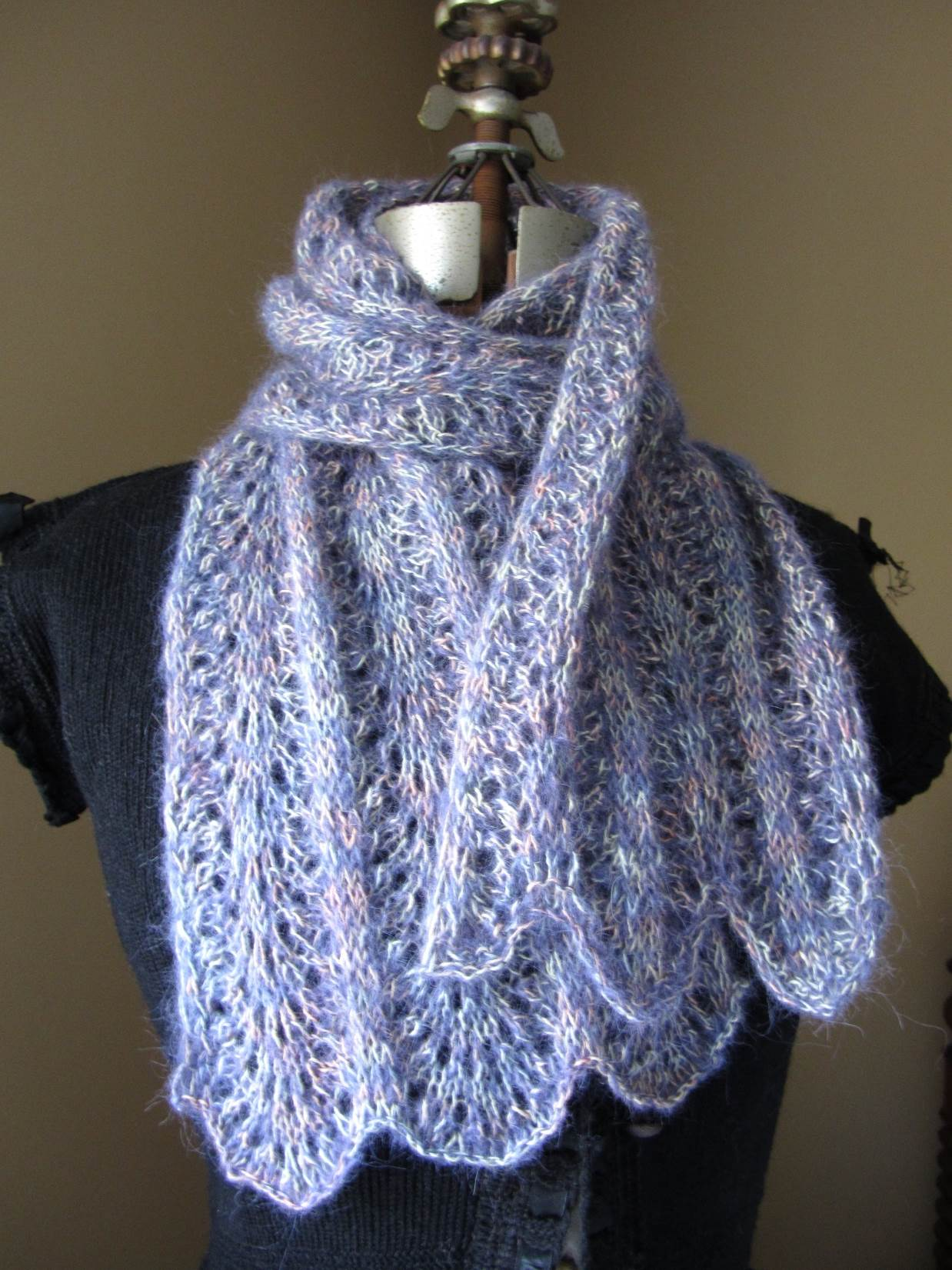 KC Knit Feather and Fan Lace Scarf photo